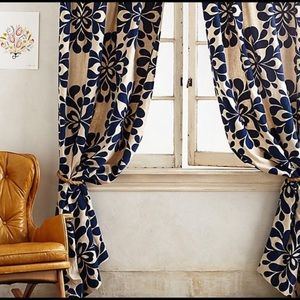 Anthropologie Navy Coqo floral curtain 2 panels